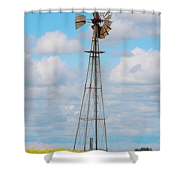 Windmill In Canola Field Shower Curtain