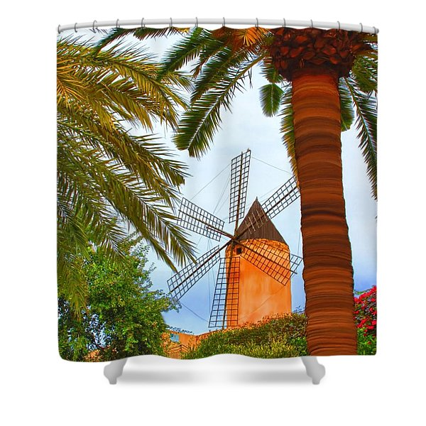 Windmill In Palma De Mallorca Shower Curtain