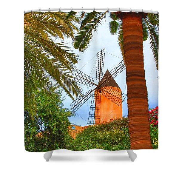 Windmill In Palma De Mallorca Shower Curtain