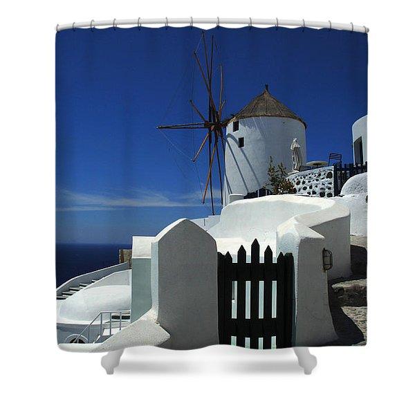 Windmill Mykonos 2 Shower Curtain