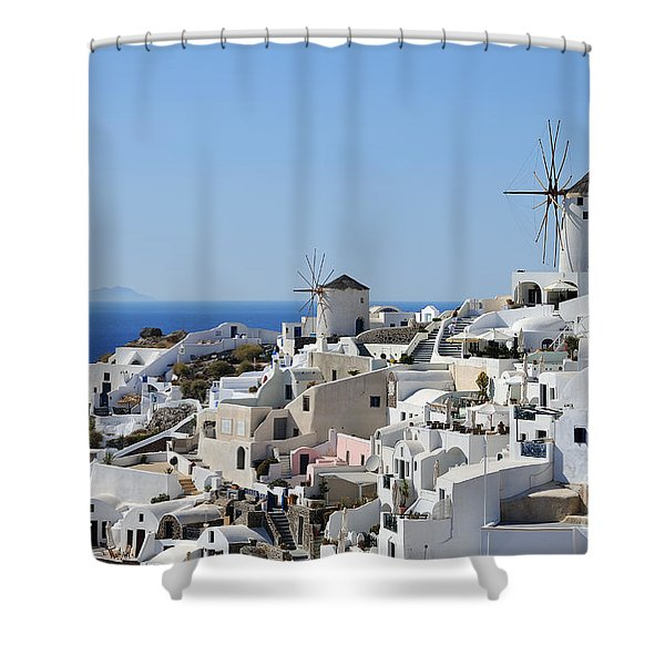 Windmills And White Houses In Oia Shower Curtain