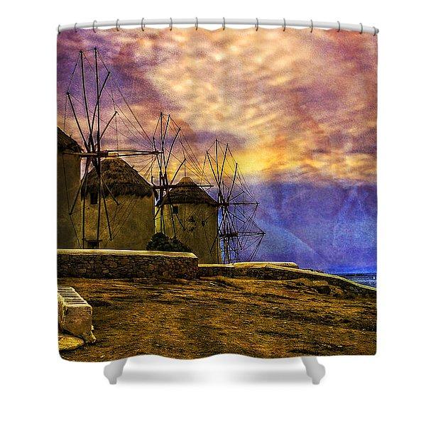 Windmills In Mykonos Shower Curtain