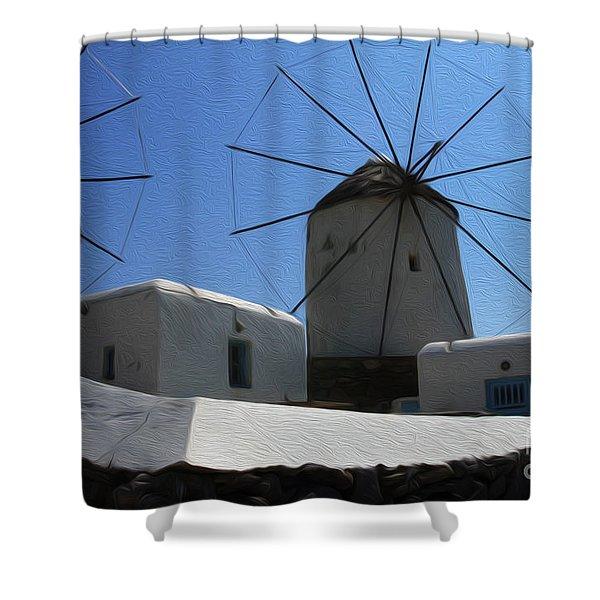 Windmills Mykonos Greece 1 Shower Curtain