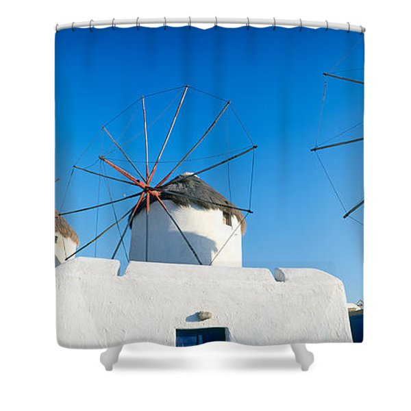 Windmills Santorini Island Greece Shower Curtain