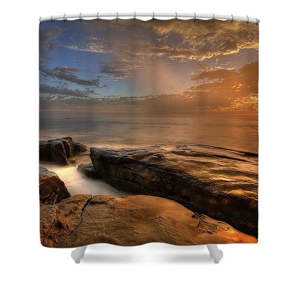 Windnsea Gold Shower Curtain
