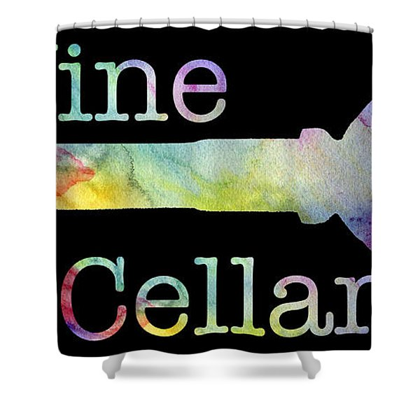 Wine Cellar Watercolor On Black Shower Curtain
