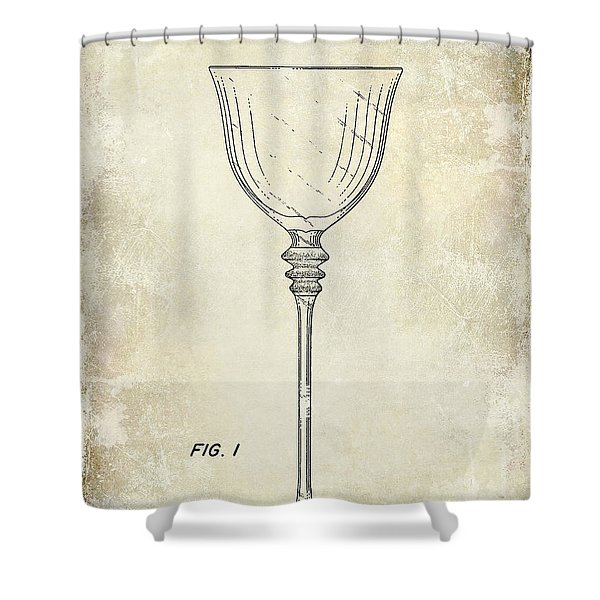 Wine Glass Patent Drawing Shower Curtain