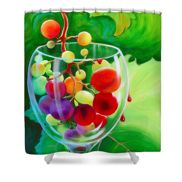 Shower Curtain featuring the painting Wine On The Vine IIi by Sandi Whetzel