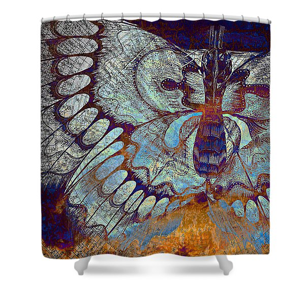Shower Curtain featuring the mixed media Wings Of Destiny by Christopher Beikmann