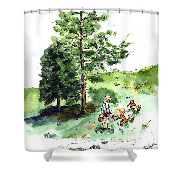 Winnie The Pooh With Christopher Robin After E H Shepard Shower Curtain