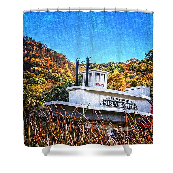 Winona Steamboat Sign Shower Curtain