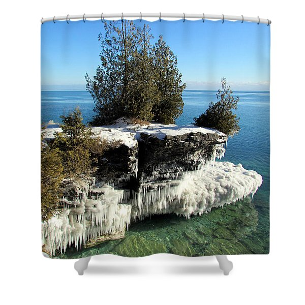 Winter At Cave Point Shower Curtain