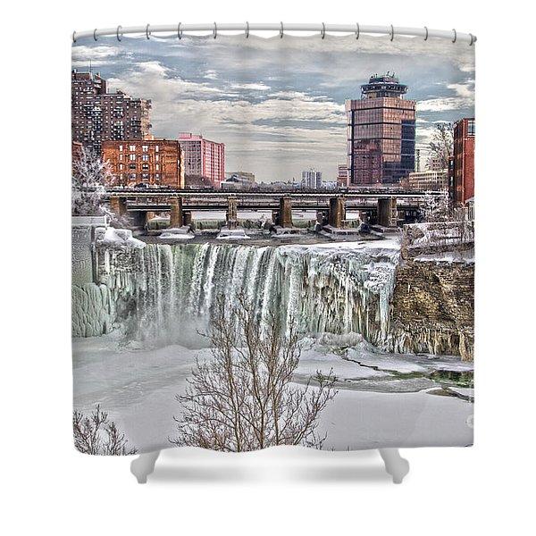 Winter At High Falls Shower Curtain