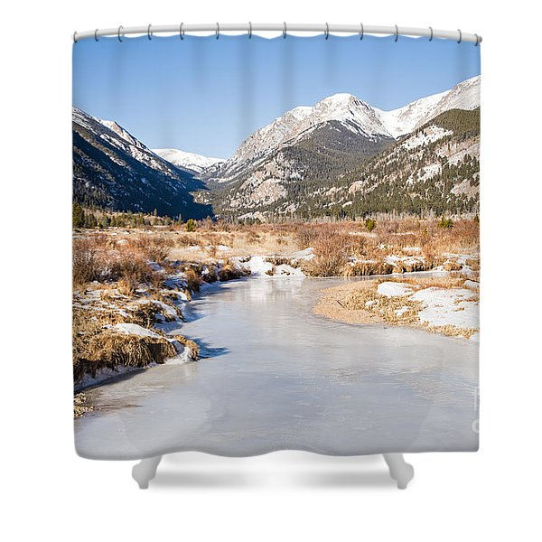 Winter At Horseshoe Park In Rocky Mountain National Park Shower Curtain