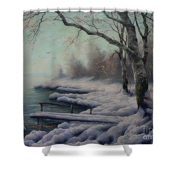 Winter Coming On The Riverside Shower Curtain