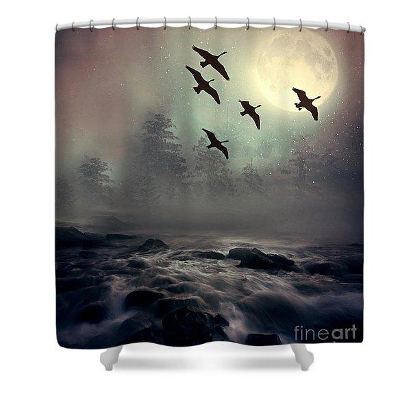 Winter Golden Hour Shower Curtain