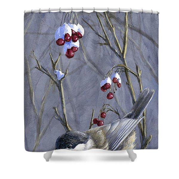 Winter Harvest 2 Chickadee Painting Shower Curtain