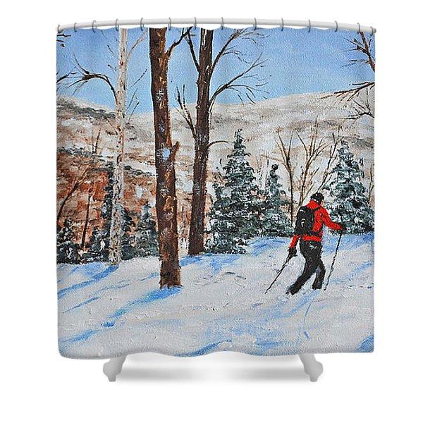 Winter In Vermont Woods Shower Curtain