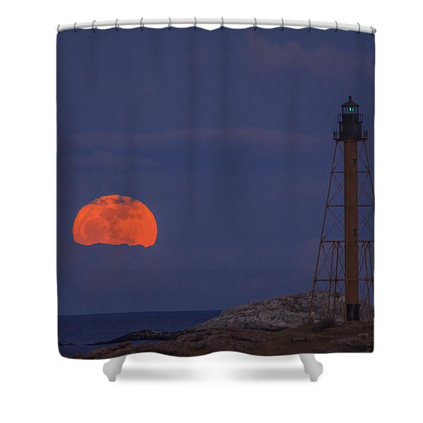 Winter Moon Rising Over Marblehead Light Shower Curtain