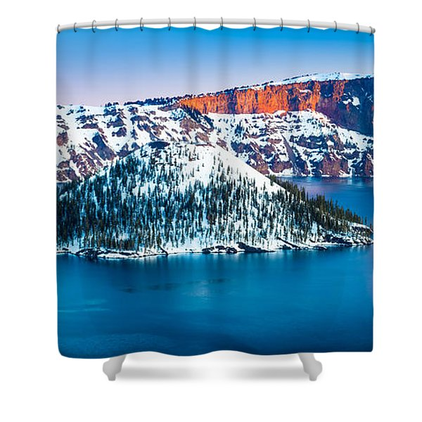 Winter Morning At Crater Lake Shower Curtain