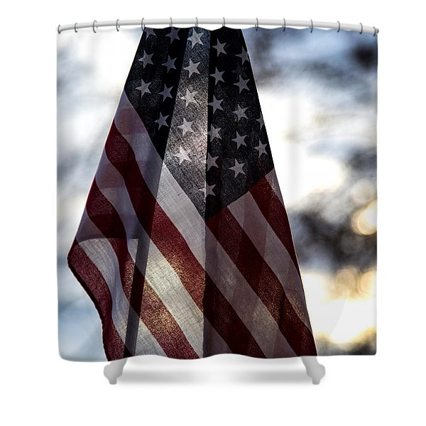 Winter Morning Patriotism Shower Curtain