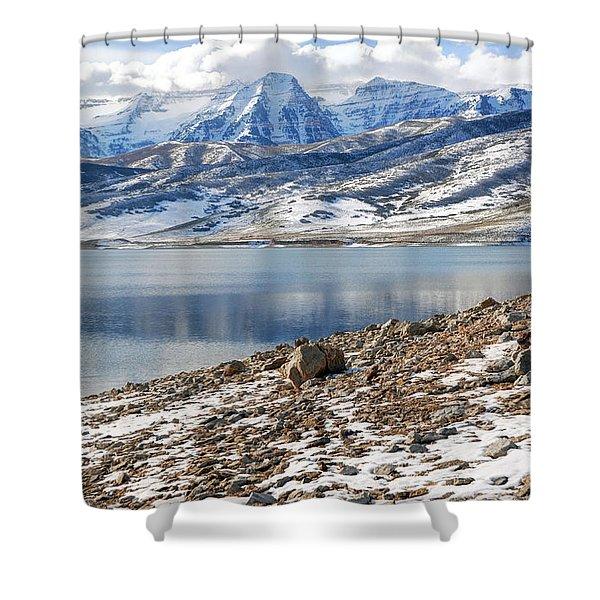 Winter Mt. Timpanogos And Deer Creek Reservoir Shower Curtain