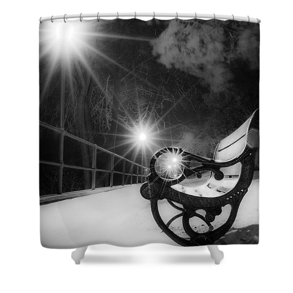 Winter Night Along The River Shower Curtain