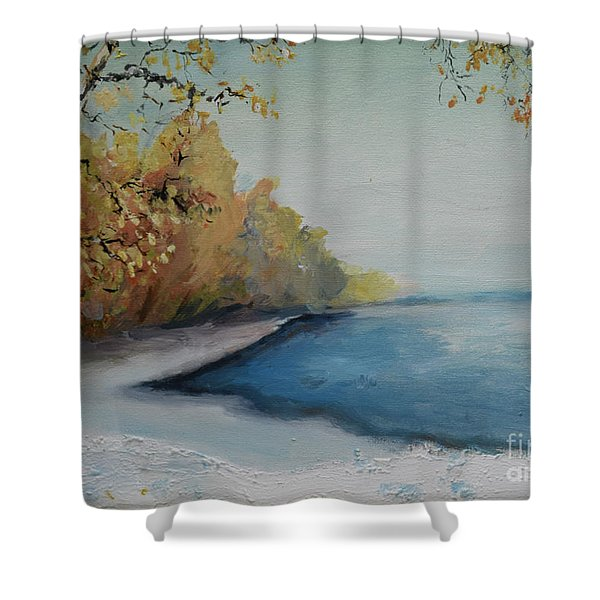 Winter Starts At Kymi River Shower Curtain