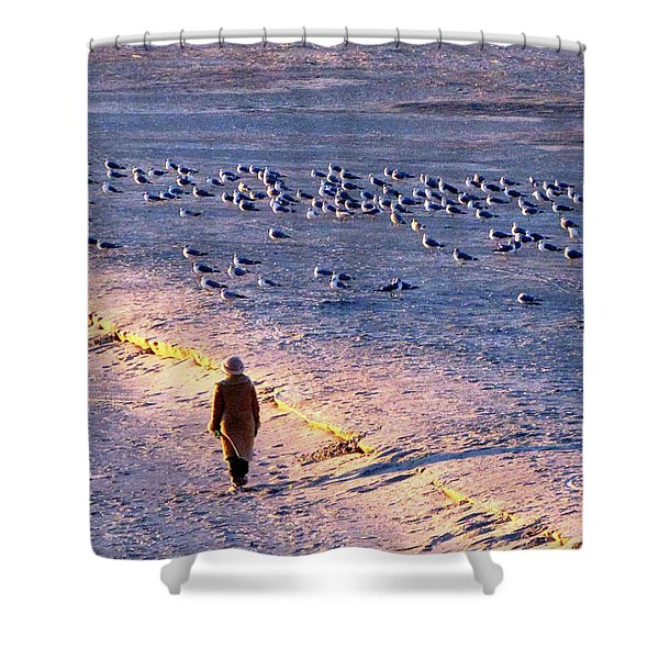 Winter Time At The Beach Shower Curtain