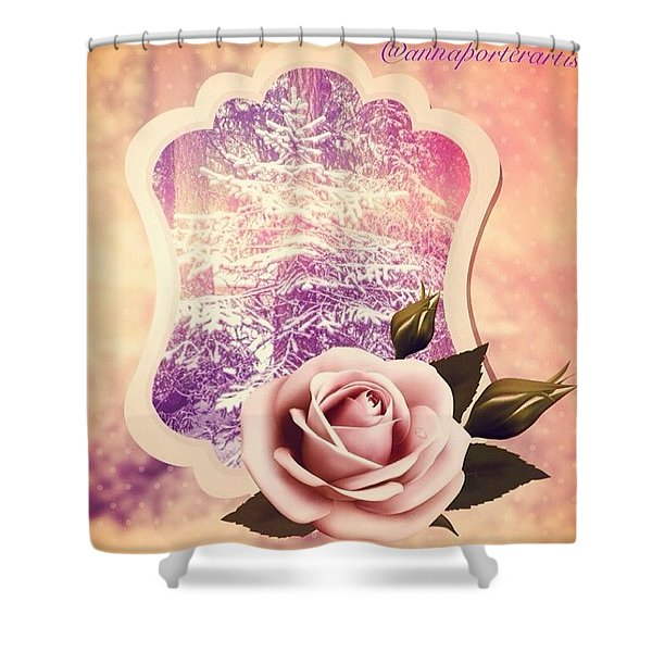 Winter Tree And A Rose For Thee Shower Curtain