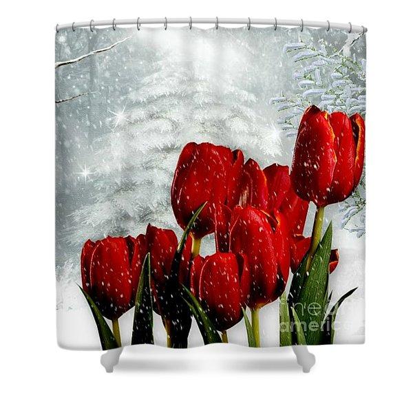 Winter Tulips Shower Curtain