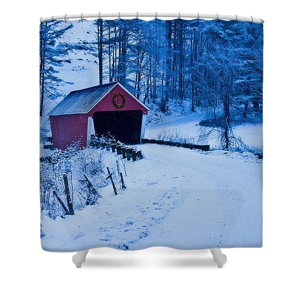 winter Vermont covered bridge Shower Curtain