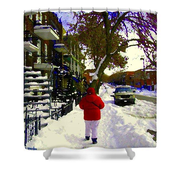 Winter Walk Streets Of Verdun Urban City Scene December Montreal Staircase Art Carole Spandau Shower Curtain