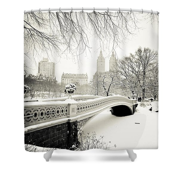 Winter's Touch - Bow Bridge - Central Park - New York City Shower Curtain