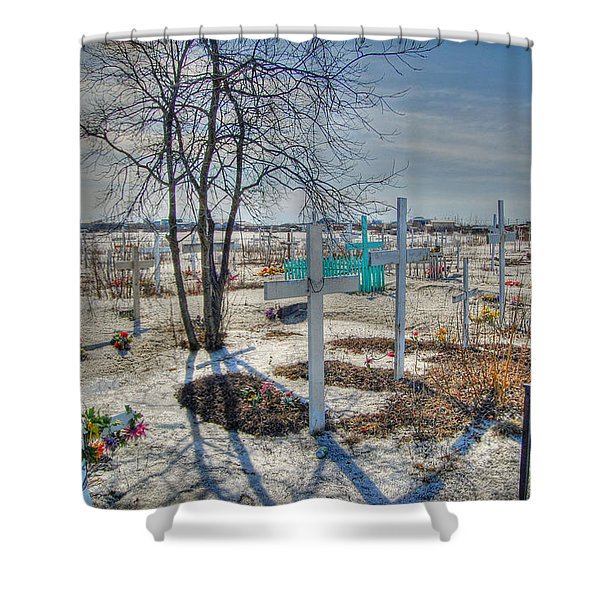 Wintery Grave Shower Curtain