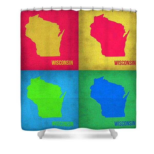 Wisconsin Pop Art Map 1 Shower Curtain