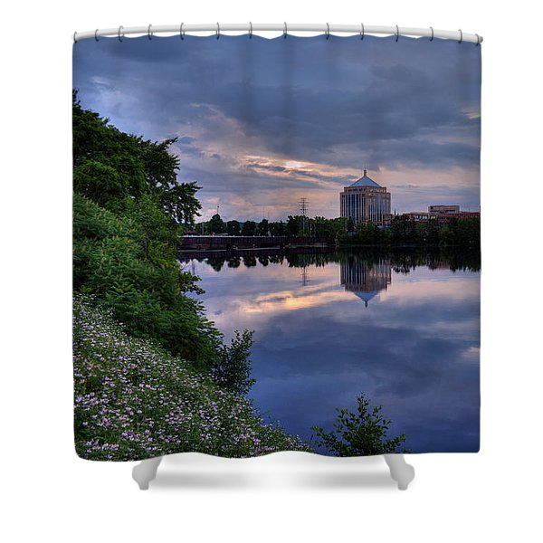 Wisconsin River Reflection Shower Curtain