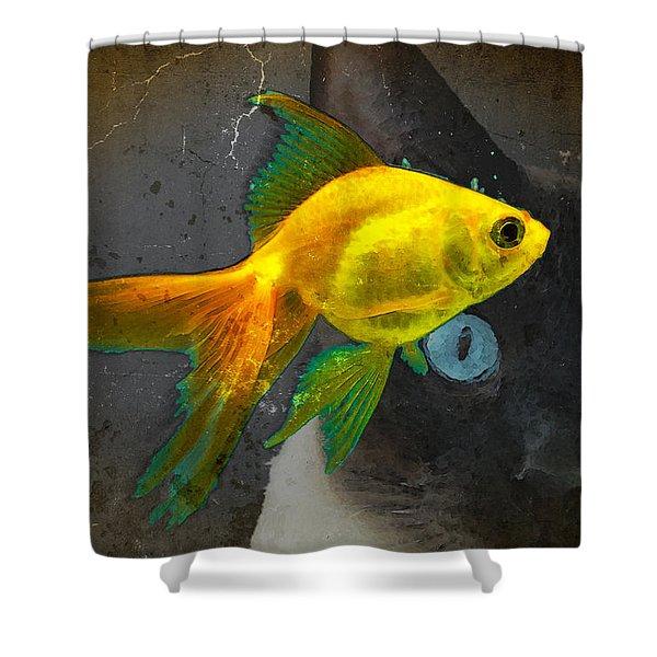 Wishful Thinking - Cat And Fish Art By Sharon Cummings Shower Curtain