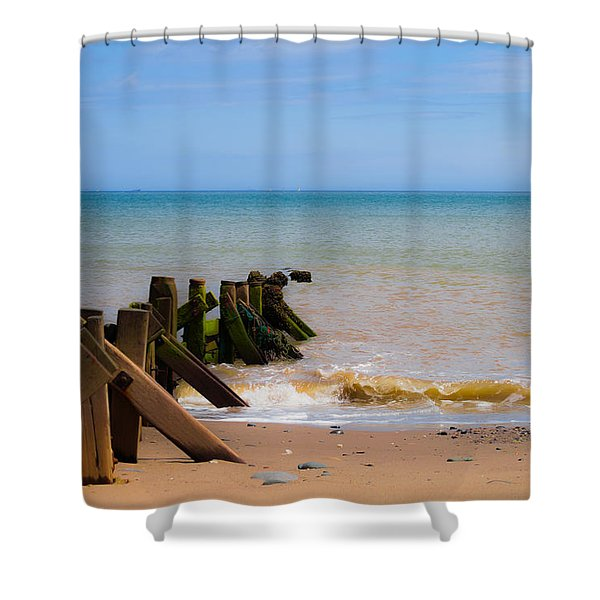 Shower Curtain featuring the photograph Withernsea Groynes by Scott Lyons