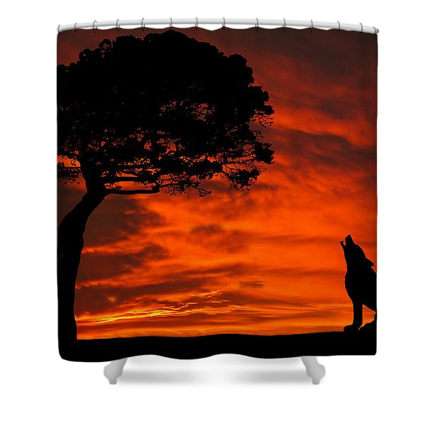 Wolf Calling For Mate Sunset Silhouette Series Shower Curtain