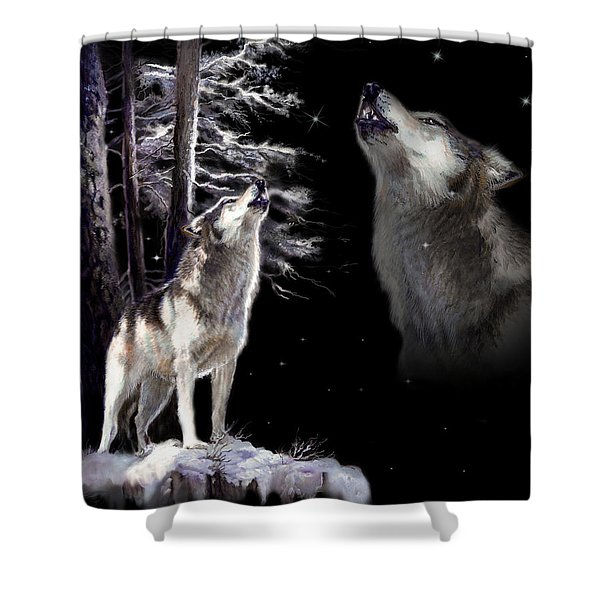 Wolf  Howling Memory Shower Curtain