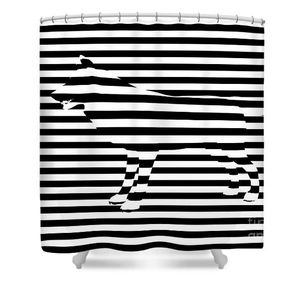 Wolf Optical Illusion Shower Curtain