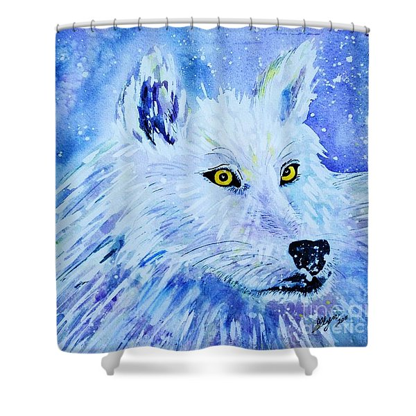 Wolf - White Wolf - Aurora Nights In Blues Shower Curtain