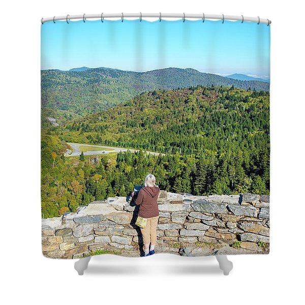 Woman Admiring View Of Blue Ridge Shower Curtain