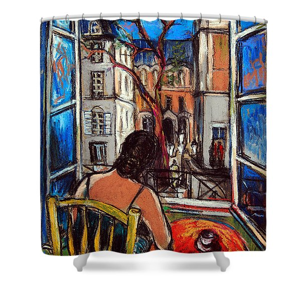 Woman At Window Shower Curtain