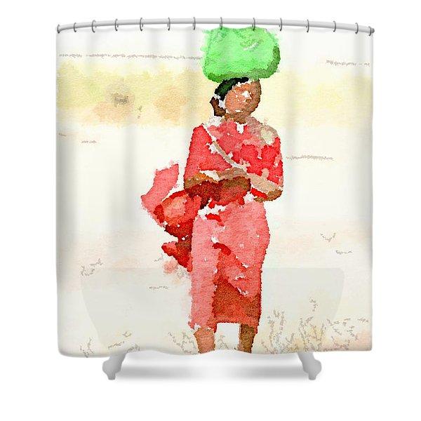 Woman Bag Shower Curtain
