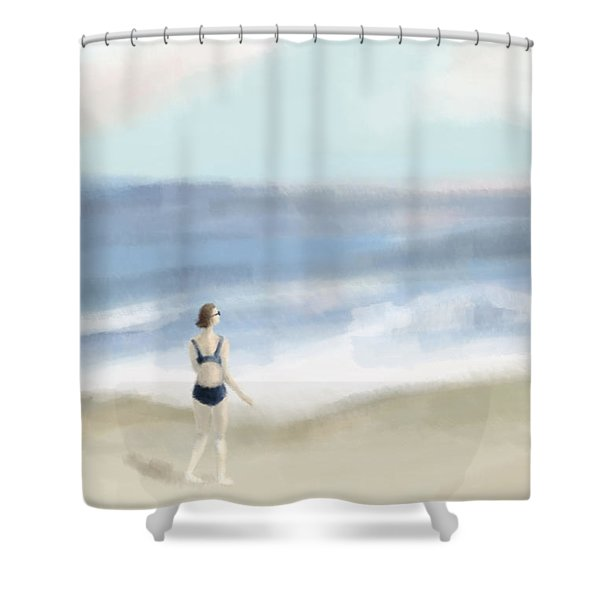 Woman By The Sea Shower Curtain