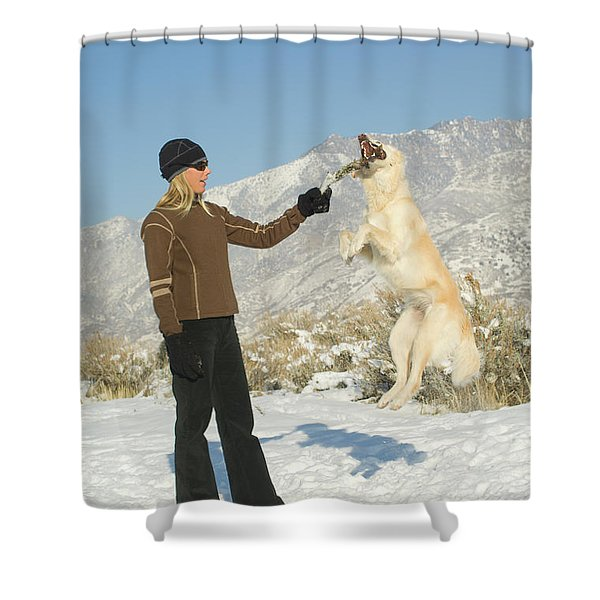 Woman Hanging Out With Dog In Salt Lake Shower Curtain