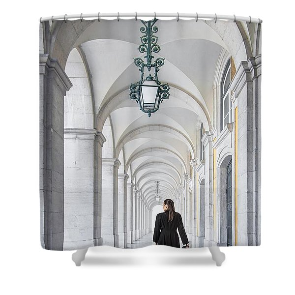 Woman In Archway  Shower Curtain