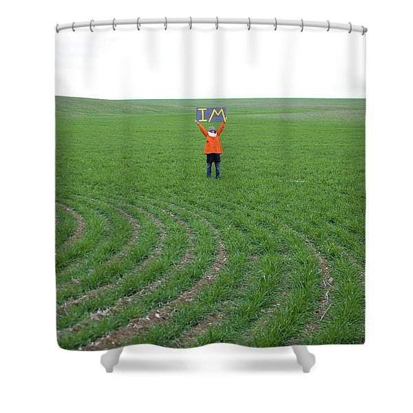 Woman In Big Field Holds Up Sign Shower Curtain